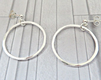Silver hoop earrings, Large hoop earrings, Fine silver hoops, Hand forged hoops, Hammered hoops earrings, Modern earrings, Made in the UK
