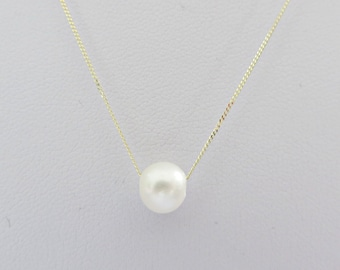 Freshwater pearl necklace, Single pearl necklace, 3 pearl necklace, 9ct gold pearl necklace, Floating pearl necklace, Made in the UK,