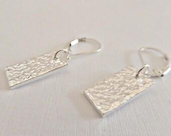 Silver rectangle earrings, Fine silver earrings, Hammered earrings, 925 earrings, Textured earrings, Silver dangle earrings, UK seller