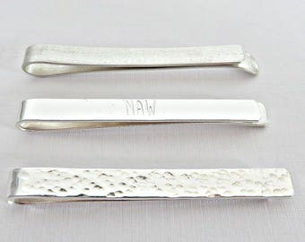 Silver tie pin, Silver tie clip, Sterling silver tie pin, Textured tie pin, Hammered tie clip, Frosted tie pin, Monogrammed tie pin, UK made