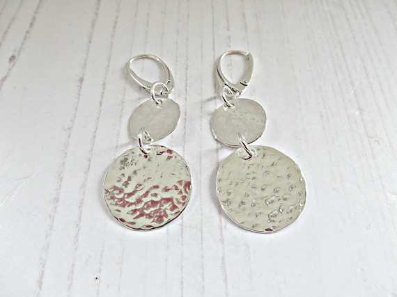 0f0d098101516 Silver disc earrings, Dangle disc earrings, Double disc earrings, Textured  disc, Sterling silver earrings, Hammered 925 earrings, UK made