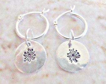 Silver dandelion earrings, Dandelion earrings, Silver hoop earrings, Fine silver discs, Ready to ship, Stamped dandelion, Made in the UK