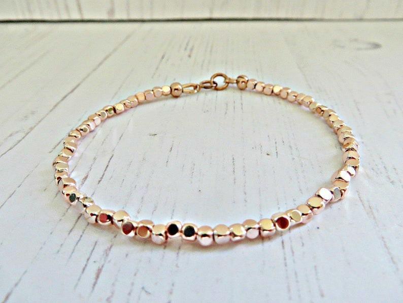 Pink gold bracelet Girls rose gold bead bracelet Rose gold jewellery Tiny beads Rose gold bracelet Skinny bracelet Simple bracelet