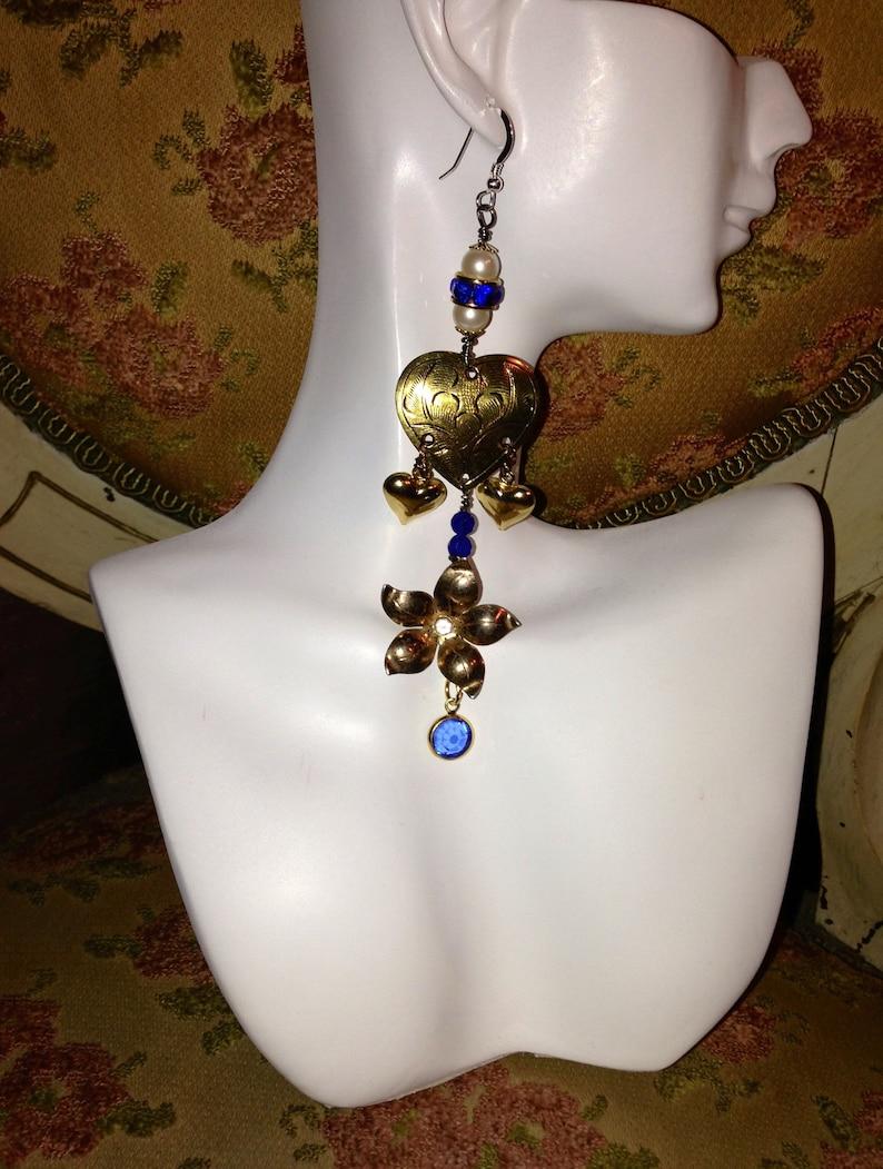 HANDMADE Sapphire Earrings,Vintage Gold Hearts,Flowers,Edwardian,Victorian,Pear,Crystal,Rhinestones,Sterling,Vintage Assemblage,Dangle,Drop