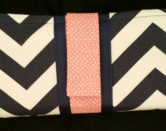 Navy chevron with coral dot cash envelope wallet