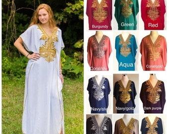 5c518ffee33 Sale Moroccan kaftan Embroidery Batwing Maxi Dress