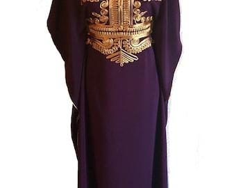 Dark Purple Moroccan kaftan Maxi Dress with gold embroidery