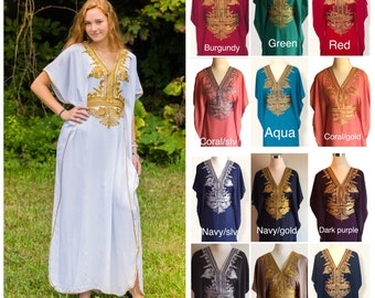 20+ Colors to choose from Moroccan kaftan Embroidery Batwing Maxi Dress , Dubai Sexy Arabian Abaya Boho one size Caftan fits from XS to 2XL