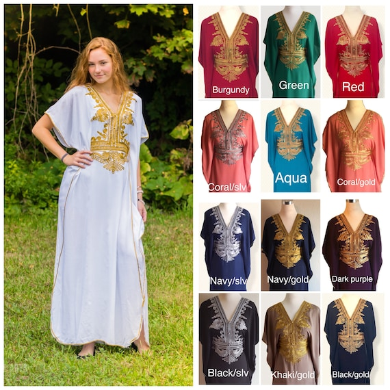 Moroccan Kaftan Abaya White Gold Embroidery Maxi Dress One Size Choker Neck