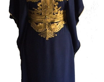 Navy Moroccan kaftan Maxi Dress with gold embroidery