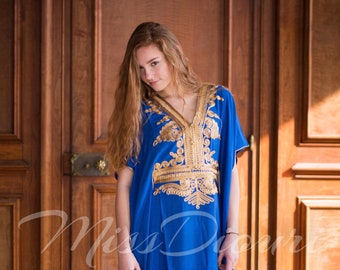 Blue Moroccan kaftan Maxi Dress with gold embroidery