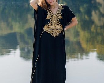 Black Moroccan Style Handmade Abaya , Beautiful Maxi Batwing Dress With Gold Embroidery