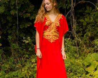Red Moroccan kaftan Maxi Dress with gold embroidery