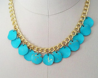 Distressed turquoise and gold chain mini bib necklace