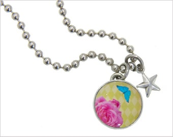 Rose Charm, Kids Necklace, Childrens Jewelry, Girls Necklaces, Girls Bracelets, Interchangeable jewelry, Kids Bracelet, Photo Jewelry,