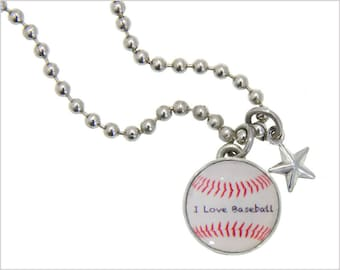 Baseball Charm, Kids Necklace, Childrens Jewelry, Girls Necklaces, Girls Bracelets, Interchangeable jewelry, Kids Bracelet, Photo Jewelry,
