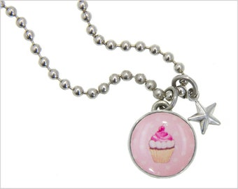CupCake Charm, Kids Necklace, Childrens Jewelry, Girls Necklaces, Girls Bracelets, Interchangeable jewelry, Kids Bracelet, Photo Jewelry,