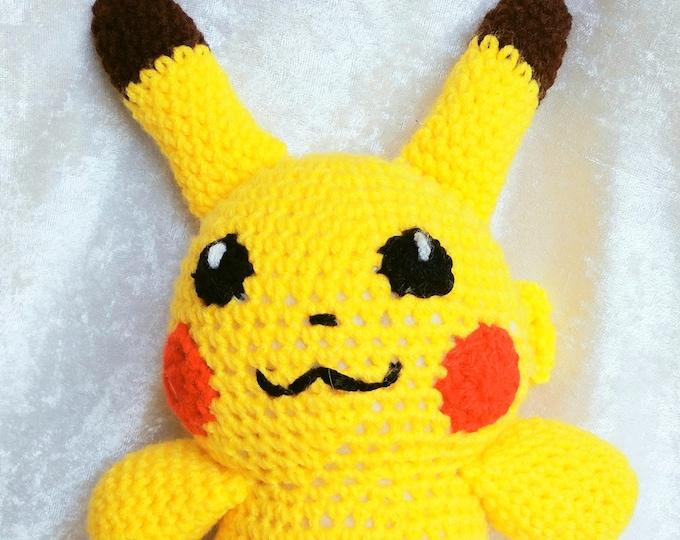 Amigurumi Crocheted Plushie Inspired by Pikachu from Pokemon