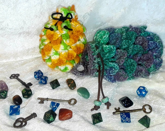 Dragon Egg Crochet Dice Bag / Purse / Pouch