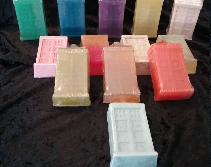 Featured listing image: Tardis Shaped Handcrafted Soap Available in 13 Fandom Inspired Scents