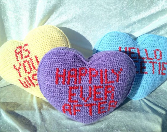Crocheted Candy Heart Decorative Pillow Customizable