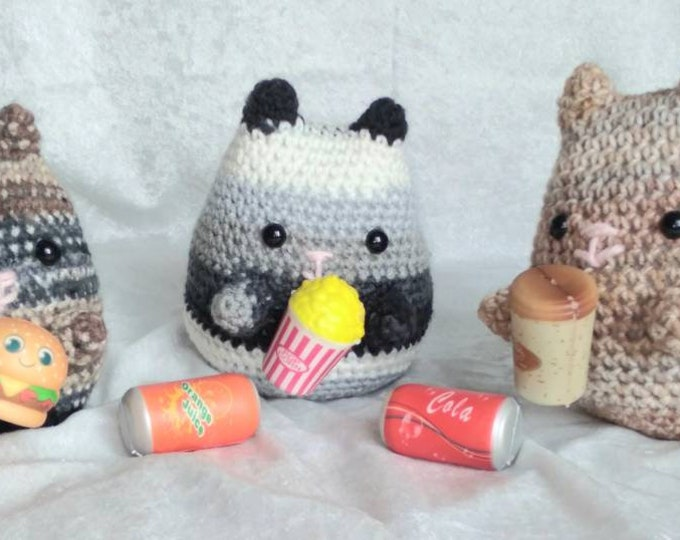 Pusheen Inspired Anime Crocheted Plush Cat with Magnetic Treat