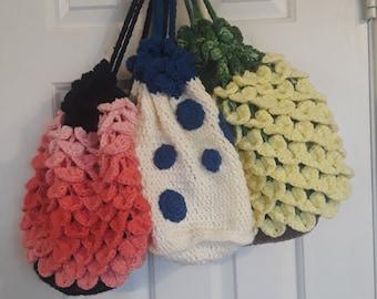 Drawstring Crochet Backpack / Purse