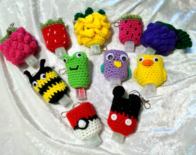 Crocheted Hand Sanitizer Holder Keychain/Zipper Pull
