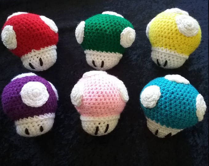 Power Up Mushroom Crocheted Plush Inspired by Mario