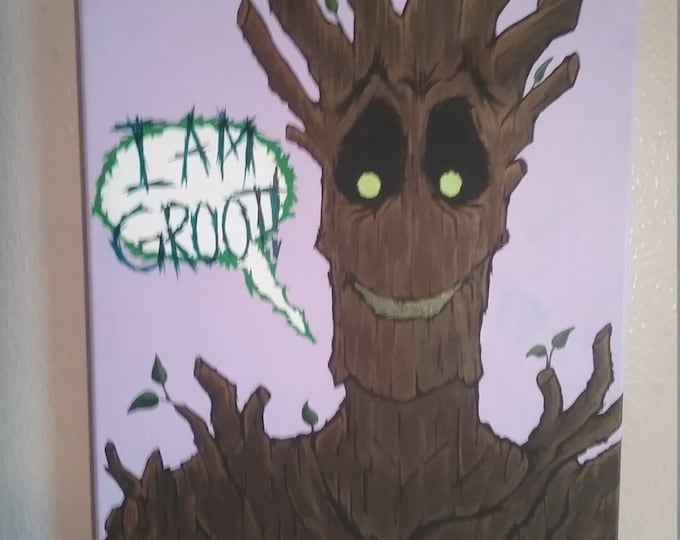 "Featured listing image: I Am Groot 16"" x 20"" Painting by Kelly Hawthorne II"