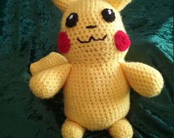 Amigurumi Crocheted Plushie Inspired by Pikachu from Pokemon