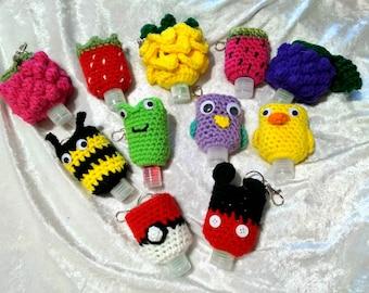 Crocheted Hand Sanitizer Holder Keychain/Zipper Pull
