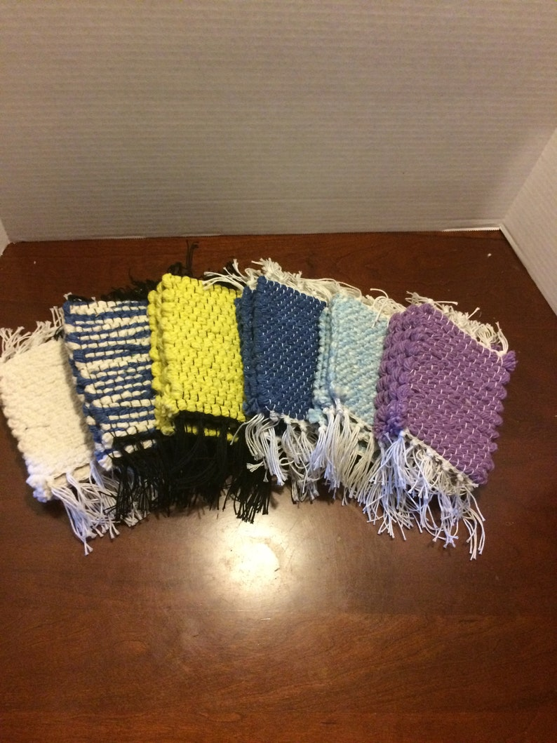 Mug Rugs Made In The Usa By Seller Four Aqua And Natural Hand Woven Coasters