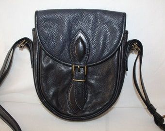French Navy Blue leather purse