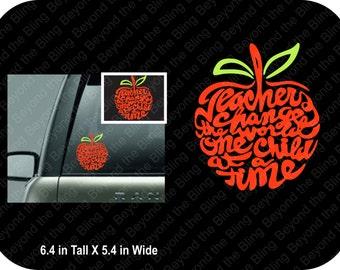 teacher car window decal teacher apple car window decal vinyl car window decal for teacher apple decal for teacher's car window vinyl decal