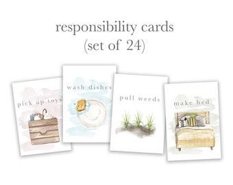 Responsibility Cards // Set of 24 // Routine, Rhythm, Affirmation