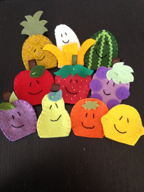 Fruta títeres de dedo títeres de dedo fieltro marionetas