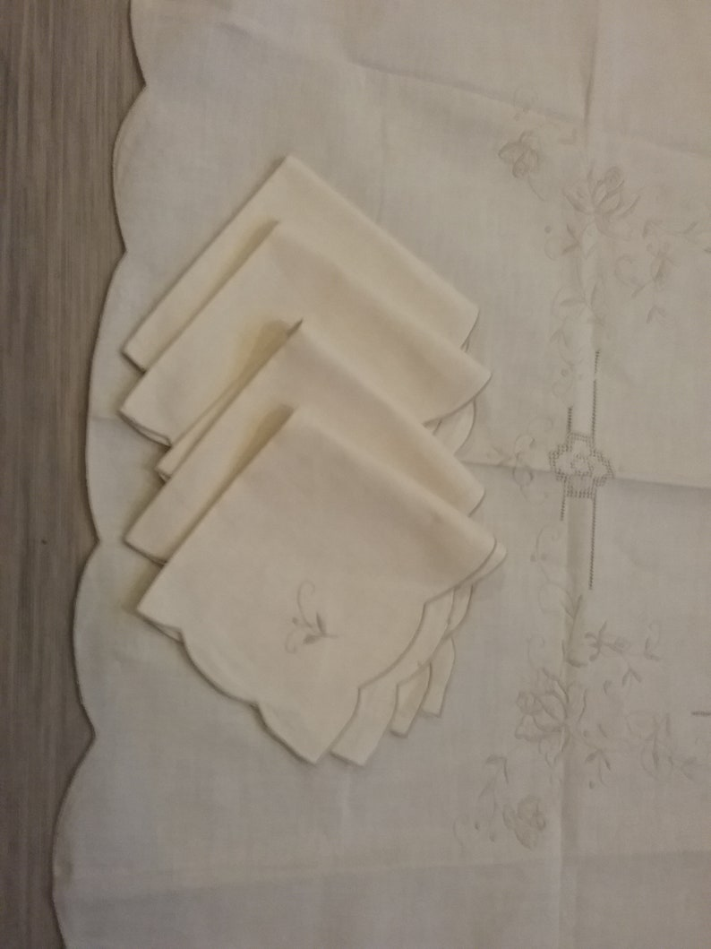 Vintage Beige Cotton Tablecloth and Napkins C. New Old Stock with  Drawn and Embroidered Threadwork