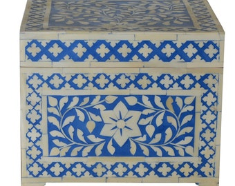 Moroccan Inspired Blue Wooden Bone Inlay Jewelry Box