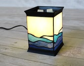 Electric Handmade stained glass candle warmer lamp, wax melter, tart burner, table lamp, desk lamp Ocean Waves