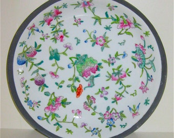 Bowl Porcelain Encased in Pewter/ Multi Colored Floral Asian