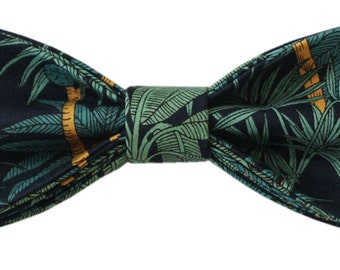 Arnold: Green, yellow & navy tropical print pre-tied bow-tie with adjustable neck strap