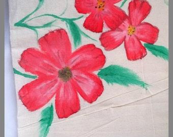 Hand painted, canvas tote bag, Market bag, Eco friendly bag, Flower design, Shopping bag