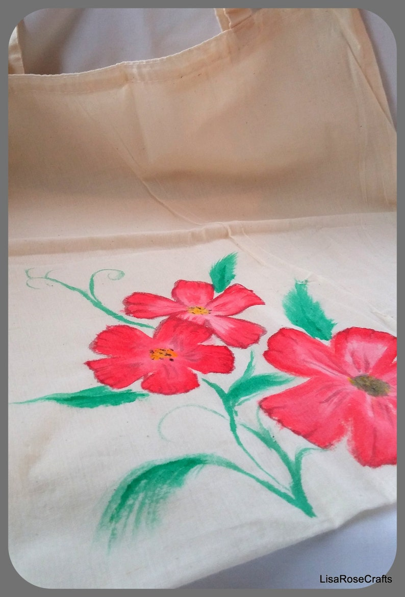 Eco friendly Market bag, Hand painted canvas tote bag