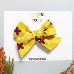 Mustard Floral Chunky Knot Bow