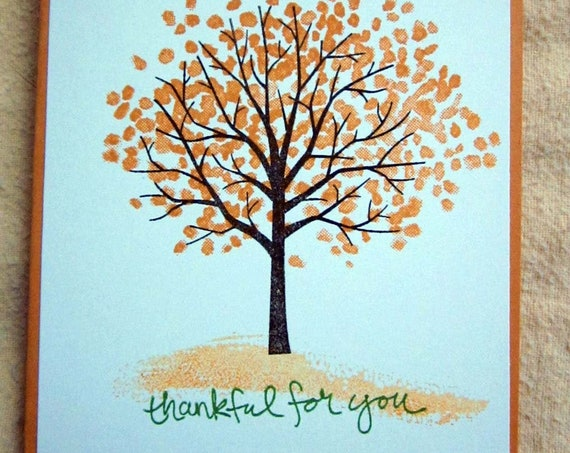Handmade Thank You Card; Stampin' Up! thank you card; thankful for you card; trees card; grateful card; card for essential worker