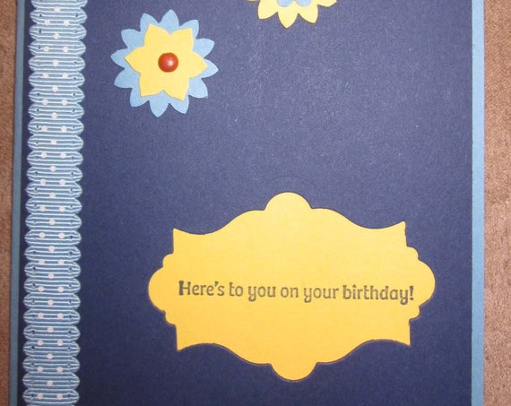 """Handmade Birthday Card with Shooting """"Stars"""" of blue and yellow - Here's To You!; Stampin Up Birthday Card"""