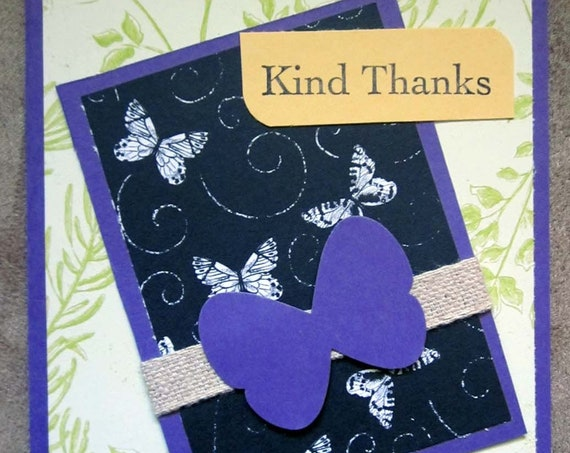 Handmade Thank You Card; Stampin' Up! thank you card; kind thanks; butterfly thank you card; butterflies thank you card