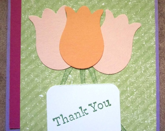 Handmade Thank You Card; Stampin' Up! thank you card; tulip thank you card; springtime thank you card; tulips
