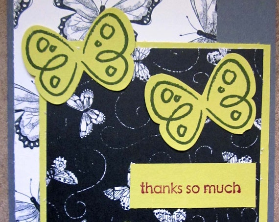 Handmade Thank You Card; Stampin' Up! thank you card; thanks so much; butterfly thank you card; butterflies thank you card